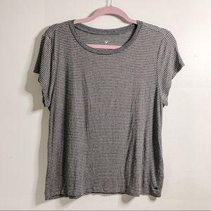 AEO Soft & Sexy T Gray Striped Short Sleeve T-shirt